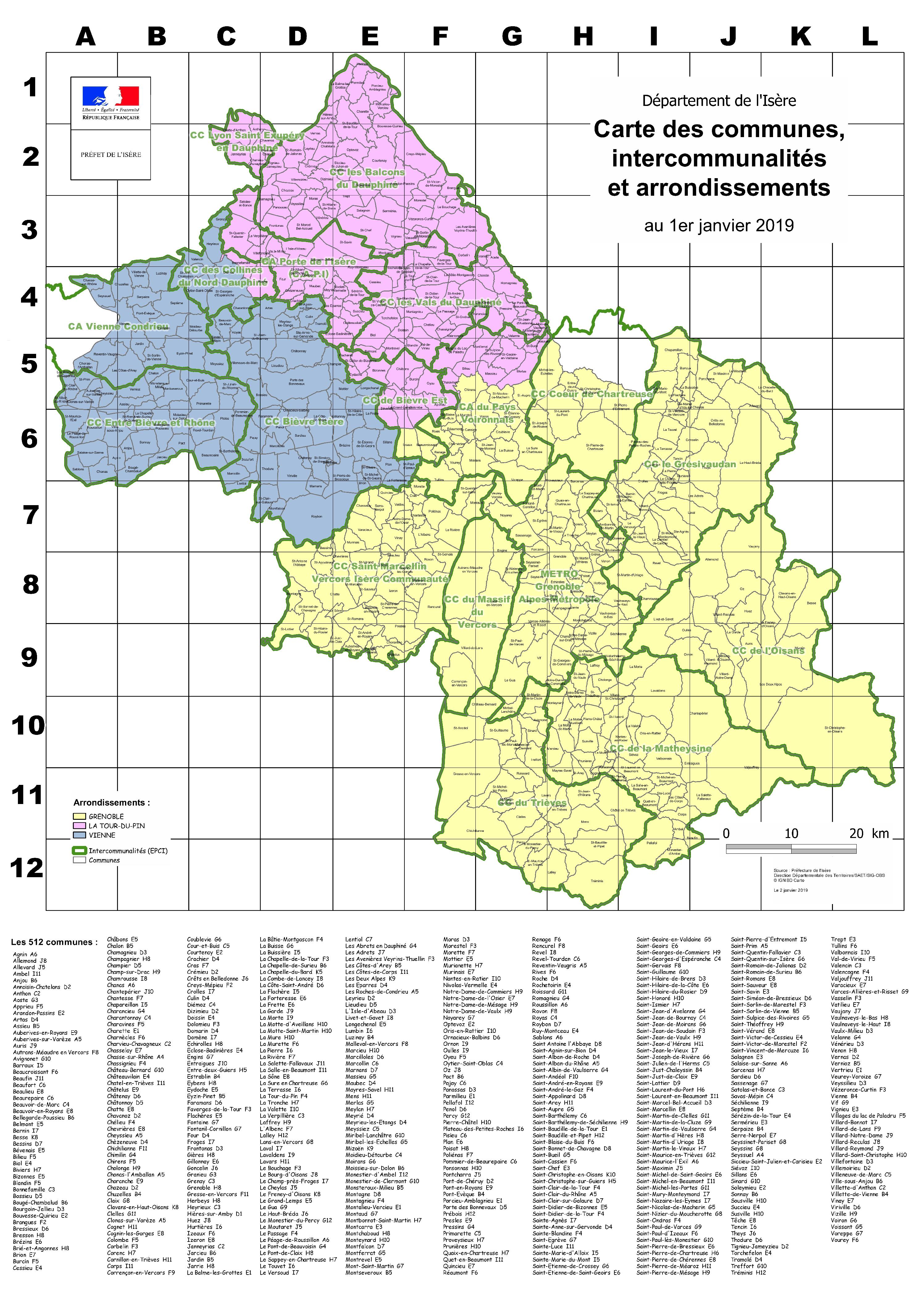 carte de l isere Les 512 communes de l'Isère / Organisation / Contexte local